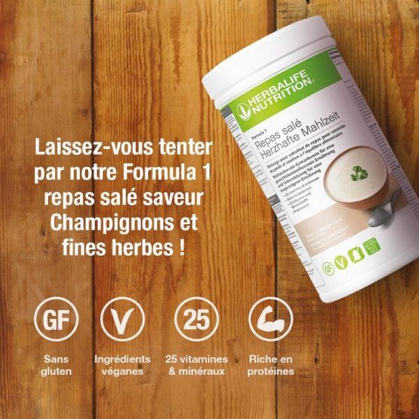 F1 - Boisson Champignons et fines herbes - Repas salé 550g - Herbalife _ Vercors Sports Team (2)
